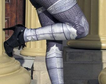 TAFI Steel Armor Leggings - Plate Chain Mail CosPlay Armour 3D Printed Design Black Milk Galaxy Dance Costume Yoga Pants