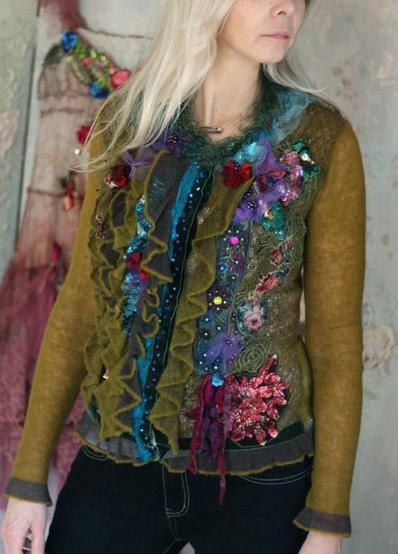 Bohemian Path Tarot: Forest Path Cardi Ornate Wearable Art Bohemian Romantic