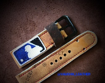 Handmade vintage baseball glove 42mm apple watch 24mm watch strap