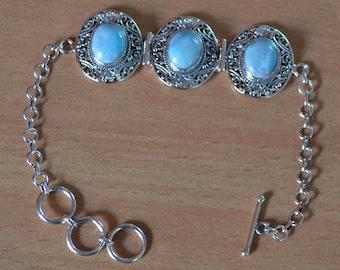 Natural Larimar Bracelet, 925 Sterling Silver Bracelet, Silver Bracelet, Gemstone Bracelet, Unique 1 piece available, Adjustable Bracelet