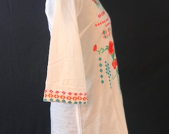 white collar dress with embroidery