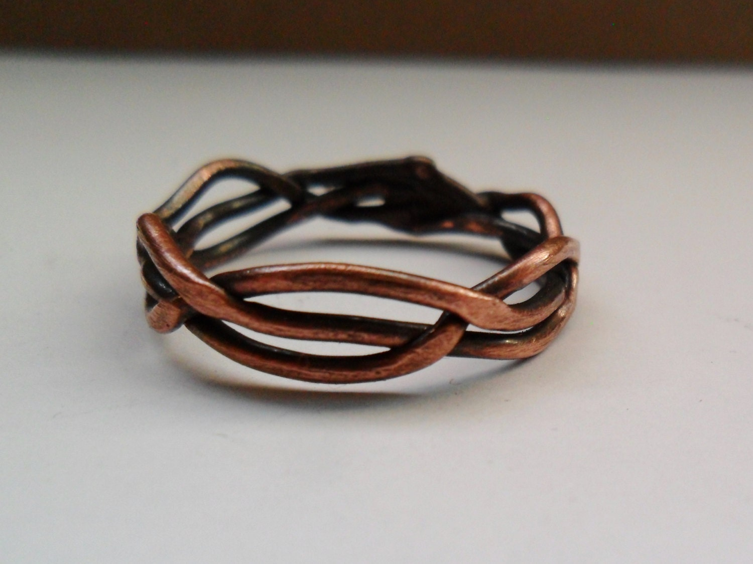 Braided Copper Ring Mens or Womens Copper Ring Woven Wire