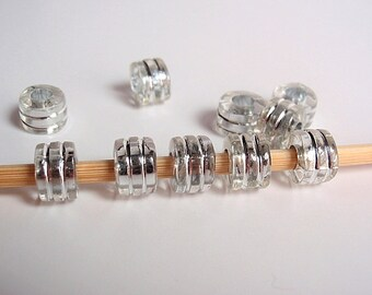 50 Beads, Clear Tube Metal En-laced with Silver accent beads, Jewelry making Supply, great for European style bracelets