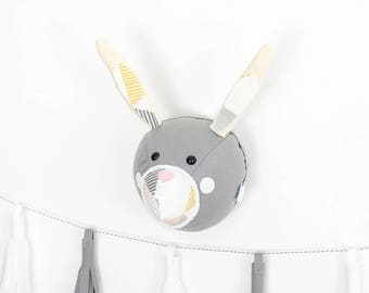 Nursery wall art, Felt bunny head, felt rabbit head, woodland nursery, faux rabbit,  animal mount, monochrome nursery, childrens bedroom