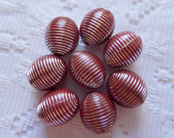 8 Red & Silver Foiled Striped Etched Acrylic Oval Beads  18mm x 15mm