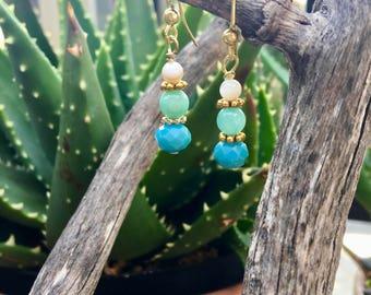 Blue/green gold earrings