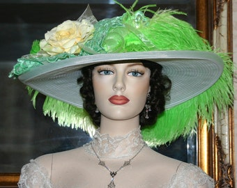 Edwardian Hat, Kentucky Derby Hat, Ascot Hat, Tea Party Hat, Titanic Hat, Somewhere Time Hat, Yellow Green Hat - Lemon-Lime Crystal Fairy