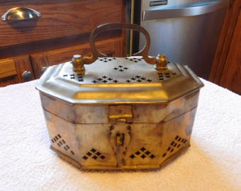 Solid Brass Collectable Jewerly Etc Box Cricket Box Trinket Box Octagonal Shape With Hinged Lid  1980s