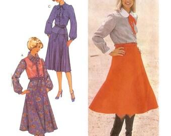 1970s Blouse Waistcoat and Midi Skirt Pattern Burda 23388 B36 B38