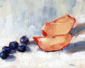 Fruits Painting, Nectarine and Blueberries Painting, Oil Painting, Food Art, Kitchen Art by Marlene Lee Art