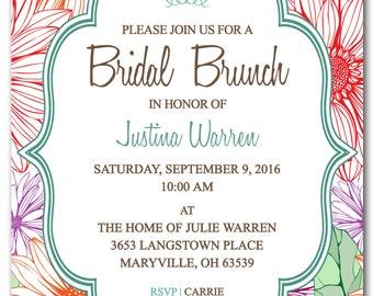 wedding invitation printable turquoise blue and orange