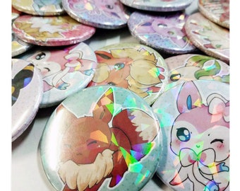 Chibi eevee eeveelutions shiny holographic pin buttons - Pokémon badges