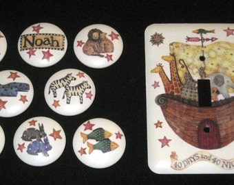 Set of 8 NOAH'S ARK KNoBS + SiNGLE MEtAL SWiTCH PLATE to Match - Hand Painted