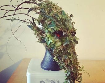 Green Man Tree Mask - Custom Made in Papier Mache with Moss, Twisted Twigs + Vines