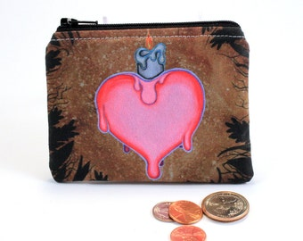 Nostalgia - Small Zipper Pouch - heart with melting candle - Art by Marcia Furman