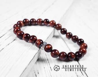 Red Tiger Eye Bracelet - Mens Bracelet, Gemstone Bracelet, Gift For Men, Gift for Husband, Bracelet for Men Wristwear