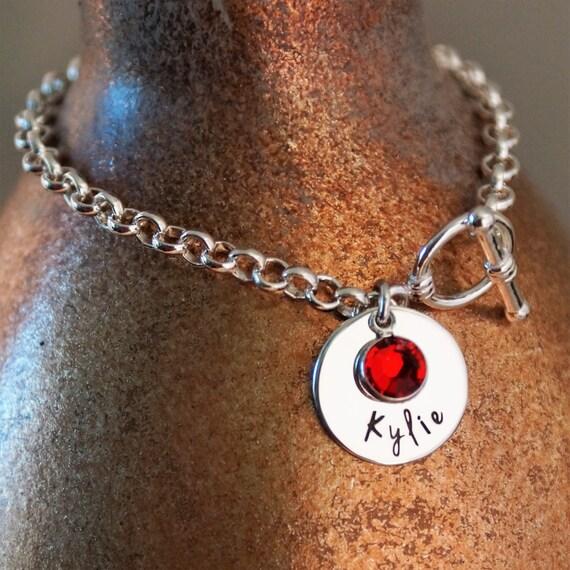 Toggle Charm Bracelet: Name Charm Bracelet / Toggle Bracelet / Personalized Jewelry