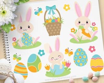 Ostern Hase Clipart, Boy Bunny, blau, Frühlingsblumen, Osterkorb Eier, Ostereiersuche - kommerzielle Nutzung, Vektor ClipArt, SVG-Dateien schneiden