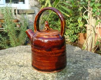 ceramic teapot, handmade teapot, pottery teapot, teapot with overhead handle,