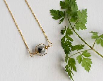 Quartz Necklace, rutilated quartz pendant, gemstone necklace, quartz crystal, tourmalinated quartz, girlfriend gift, crystal ball necklace