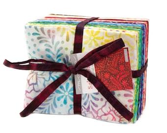 Salsa Batiks - Moda Fabric - Fat Quarter Bundle - Moda Hand Dyed Batik Cotton Fabric Collection Rainbow Colors - Bundle of 35 Fabrics