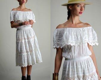 Gauze Mexicana Dress Vintage 70s White Cotton Gauze Crochet Off-the Shoulder Mexican Boho Dress (m l)