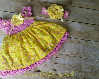 Crochet Baby Dress with Fabric, Yellow Pink Baby Outfit,  Baby Headband, Newborn Baby Outfit, Baby Shower Gift, Infant Girl Cotton Fabric