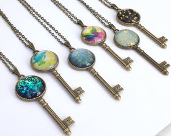 Key necklace. Mermaid, Ocean, Happiness.!Handpainted Glass. Choose your design. Antique brass skeleton key pendant. Chest length chain