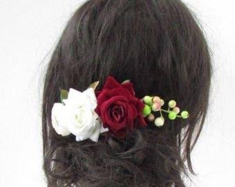 Burgundy Red Ivory Pink Blush Rose Berry Flower Hair Comb Fascinator Bridal 5118