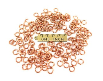 Rose Gold Plated 5mm Round Jump Rings - 12 grams (approximately 140x) (19 gauge) K853-G