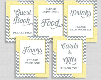 Yellow Baby Shower Signs Package, Yellow & Grey Mums Shower Table Signs, 5 Sign Bundle, INSTANT PRINTABLE