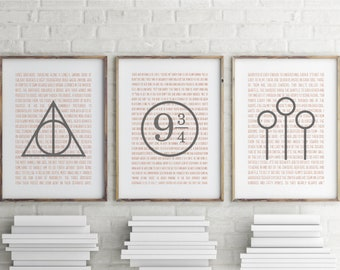 Harry Potter Poster Set, Harry Potter Decor, Deathly Hallows, Quidditch, Platform 9 3 4 sign, Quidditch Print, Deathly Hallows Print, Poster