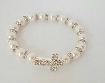 White pearl beaded bracelet, catholic womens bracelet, cross bracelet, catholic gift for her, christian bracelet, wrap bracelet, mom gift
