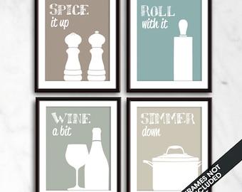 Funny Kitchen Art Print Set (Salt Pepper, Rolling Pin, Wine, Simmer Pot) Set of 4 - Art Prints (Featured in Neutral Color Palette D)
