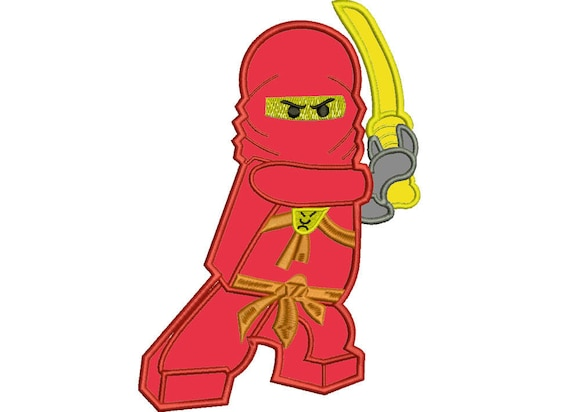 Embroidery design applique red Ninja 2 in 1, 4 sizes, download ...