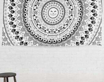 Cat Mandala psychedelic tapestry third eye 52x80