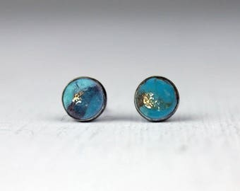 Blue Copper Turquoise Studs, Sterling Silver and Turquoise Post Earrings, Bezel Set Earrings with Patina