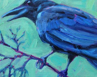 Crow - Black Crow - Bird Art - Paper - Canvas - Wood Block