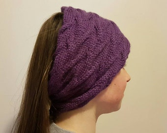 Burgundy cabled cowl/head wear