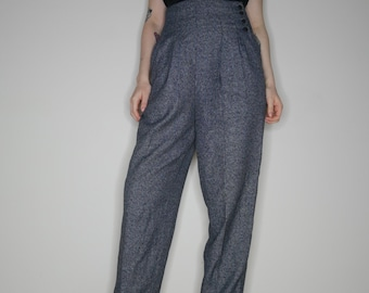 90s minimalist business gray pleated super high waist trousers size 9