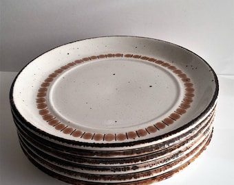 "Set of 6 Vintage Mid Century Midwinter Stonehenge 7"" Plate ~  English Pottery"