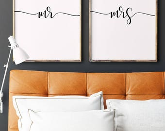Mr and Mrs Prints | Newlywed Gift | Wedding Sign | Master Bedroom Decor | Mr and Mrs Sign
