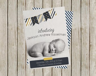 It's A Boy | Blue Bunting Birth Announcement (5x7)