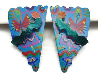 1980s Earrings - Memphis Group, Retro Contemporary, Hand Painted, Pierced Vintage Earrings for Women
