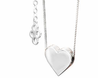 Silver Valentine Necklace, Sterling Silver, Heart Charm Necklace, Sterling Silver jewellery