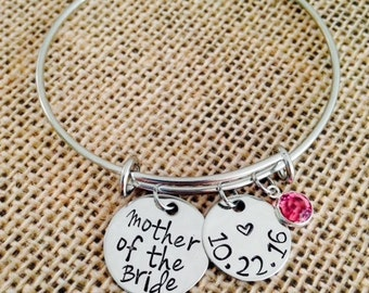 Mother of the Bride Personalized Circle and Swarovski Crystal Birthstone Silver Bangle Bracelet - Groom - Wedding - Engagement - Bridesmaid