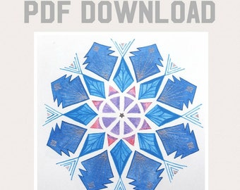 Digital Download - Instant Download - Yule Crystal Grid - Grid Template - Crystal Grid Template