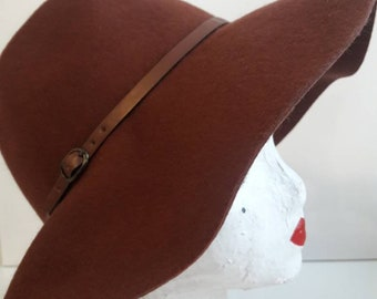 Wide brim Brown Wool Hat With faux leather trim belt