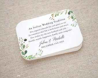 Greenery Sugared Almonds Personalized Gift Tags, Jordan Almond Favor Tags, Wedding Favor Tag, Italian, Greek, Set of 20 (Item code: J742)