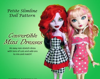 Convertible mini dress sewing pattern for Petite Slimline Fashion Doll girls: DC, High, Monster, Ever After, Dal, Obitsu & Super Hero